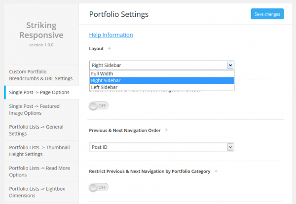 Global Single Portfolio Item Layout Settings
